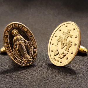 Miraculous Medal Cufflink - gold tone